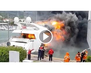 Fire on board Custom Line yacht Lady Vanilla at Loano Marina - Superyacht Times