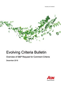 Evolving Criteria Bulletin: Overview of S&P Request for Comment Criteria
