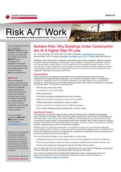 Risk A/T® Work Newsletter Issue 29 (English) – Builders Risk: Why Buildings Under Construction Are At A Higher Risk Of Loss