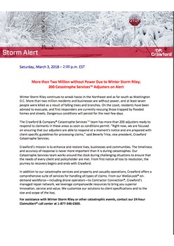 Storm Alert: More than Two Million without Power Due to Winter Storm Riley; 200 Catastrophe Services Adjusters on Alert