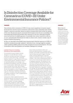 Is Disinfection Coverage Available for Coronavirus (COVID-19) Under Environmental Insurance Policies?
