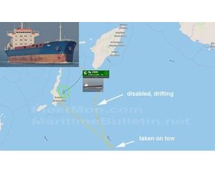 Troubled bulk carrier on tow, Med - FleetMon