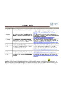 Regulatory Calendar - updated 19 May 2020