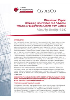 Obtaining Indemnities and Advance Waivers of Malpractice Claims from Clients