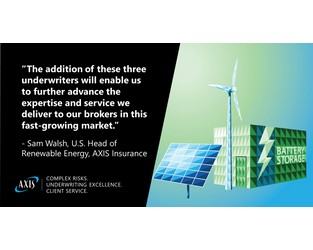 AXIS Insurance Adds Three Underwriters to U.S. Renewable Energy Team