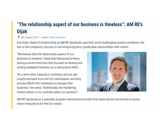 """""""The relationship aspect of our business is timeless"""": AM RE's Dijak"""